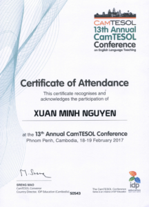 Certificate of Presentation - Camtesol 13 conference