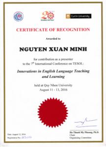 Certificate of Presentation - SEAMEO RETRAC 7th int conference